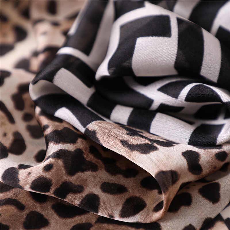 2019 neue frauen Silk Schal Weiche Leopard Print Schals Große Schals Wraps Lange Dame Pashmina Weibliche Satin Bandana Hijabs foulard