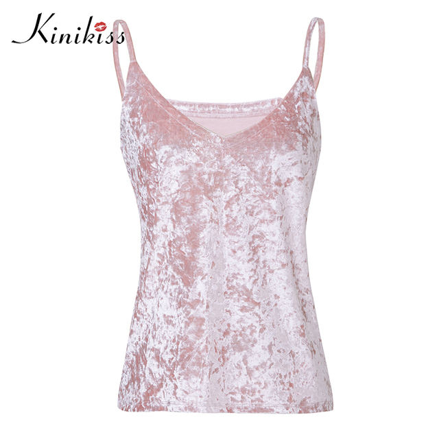 6a997b40 Kinikiss Femmes Velours Réservoir Tops Mode Sexy Femme Col V Camisole Spaghetti  Strap Tops Rose Café