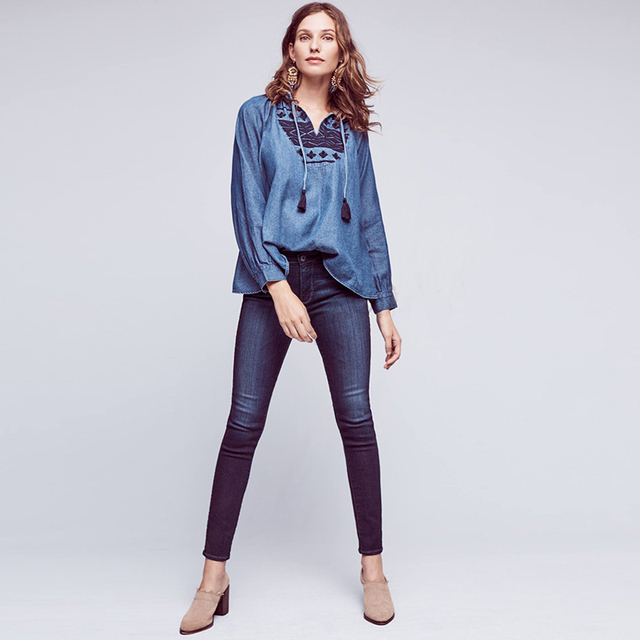 f93d7f895f Casual Geometric Embroidery Blouse boho Style Blue Denim Jeans Plus Size  2XL Women Blouses Shirts vetement