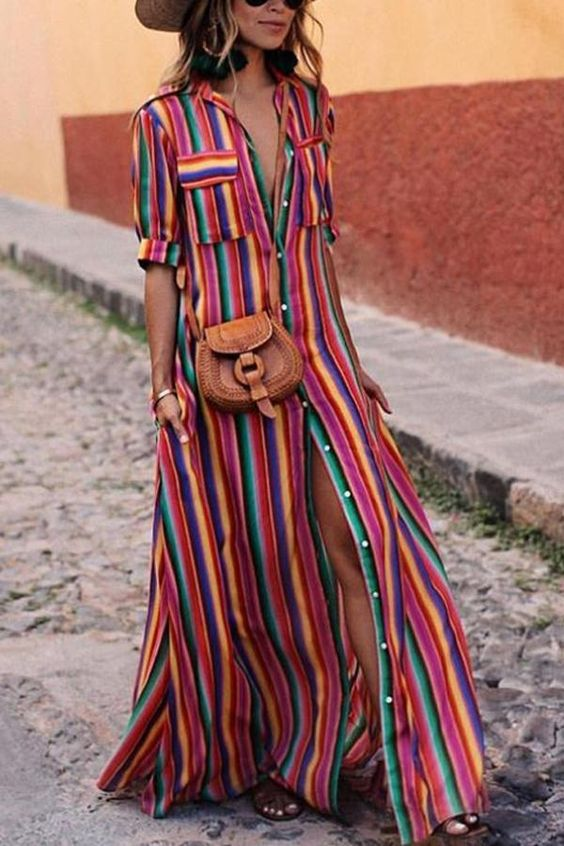 2018 New Loose Casual Coloured Striped Rainbow Women Dresses Floor Length Long Design Shirts Dresses