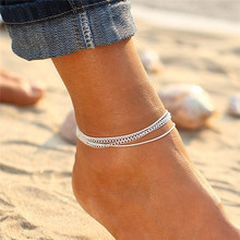 Simple Multilayer Barefoot Sandals Ethnic Alloy Bell Drop Anklet Bracelet Foot Ankle Chain Jewelry For Women chic multilayer small bells anklet for women