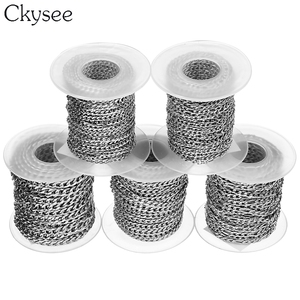 Image 4 - Ckysee 10Yards/Roll 3/4/5mm Width Stainless Steel Bulk Chain Silver Mens Figaro Link Chain Necklaces For Diy Jewelry Making