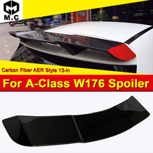 For Mercedes W176 Spoiler Extension Cap Wing R Style Carbon Fiber A-Class A180 A200 A250 A45 Look Roof Window 13-18