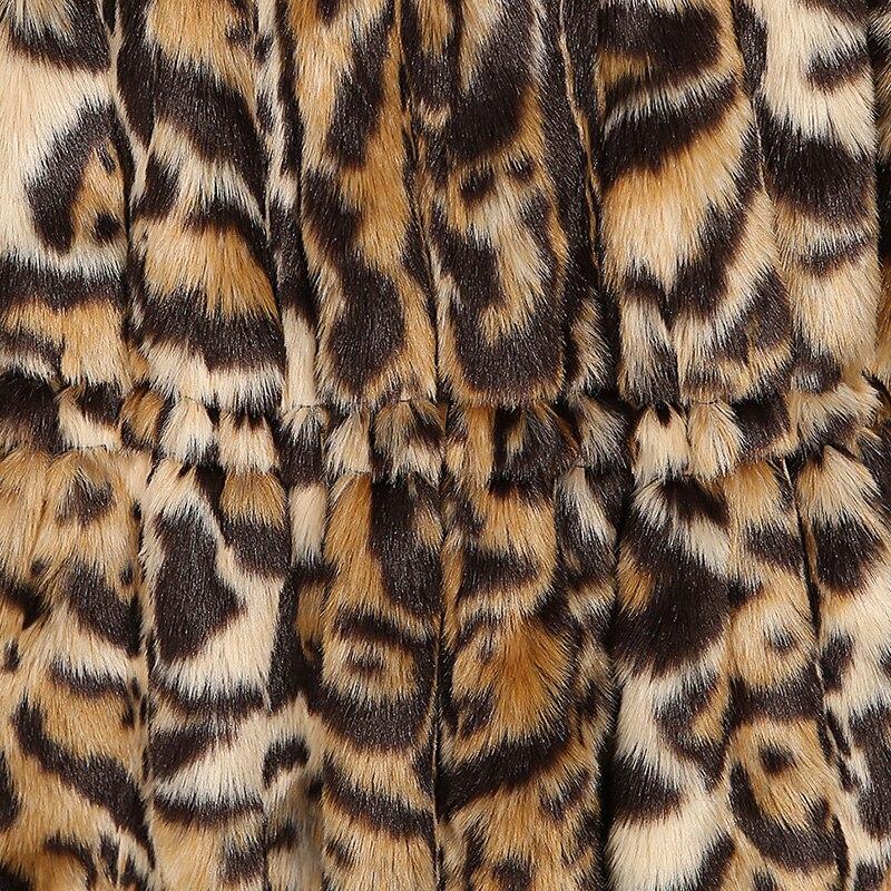 Femmes Manches Vague Nouvelles Fourrure Mode La Taille Jupe Fausse Longues Léopard En D'hiver 5xl Pardessus Plus Manteau Plissé Leopard De 2018 Nerazzurri Withstring xvqP6C
