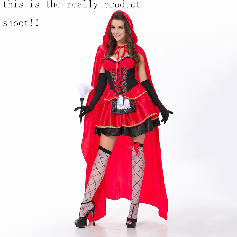 Image 3 - VASHEJIANG high quality Sexy Little Red Riding Hood Costume Women Halloween Costumes Princess Dress Carnival Cosplay Fancy Dress-in Movie & TV costumes from Novelty & Special Use