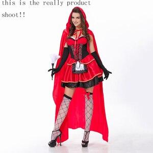 Image 3 - VASHEJIANG high quality Sexy Little Red Riding Hood Costume Women Halloween Costumes Princess Dress Carnival Cosplay Fancy Dress