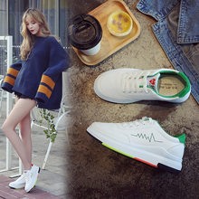 867f040905fc White Shoes Woman 2018 Autumn New Vogue Flat Skateboarding Shoes Travel  Soled Sports Shoes All Match Students Ventilation Shoe