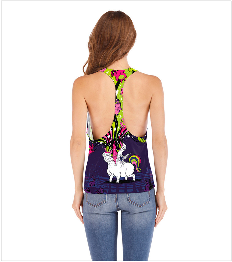 6f8490b828cd3 Pink White Tank Top Kawaii Cute Rainbow Unicorn Women Harajuku Sexy Tops  Punk Back Vest 2018 Summer Sleeveless Camisole Crochet-in Tank Tops from  Women s ...