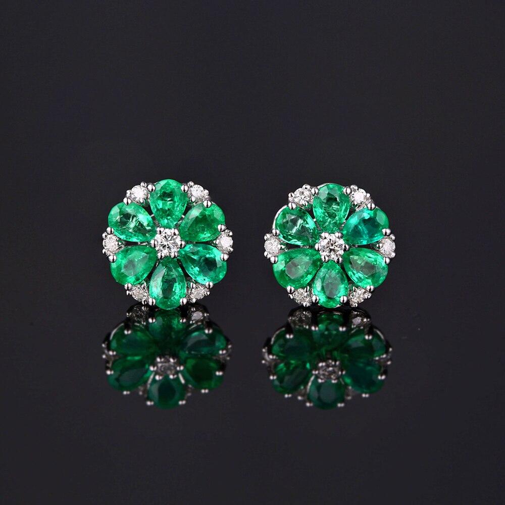Caimao 14 K oro Natural 1.78ct Esmeralda & H SI diamante compromiso boda pendientes para las mujeres