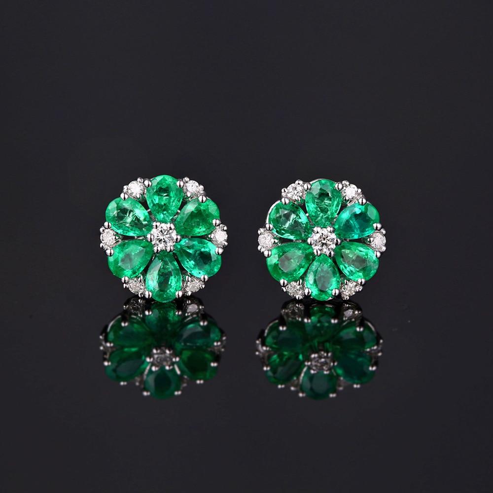 Caimao 14k Gold Natural 1.78ct Emerald & H SI Diamond Engagement Wedding Earring Studs for Women
