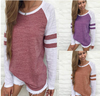 All Matched Long Sleeve T Shirt Autumn Fashion 2017 O Neck Striped Splicing Baseball T Shirt
