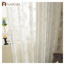 cortinas de tul bordado blanco de lino pura moderna sala de estar cortinas panel de puerta