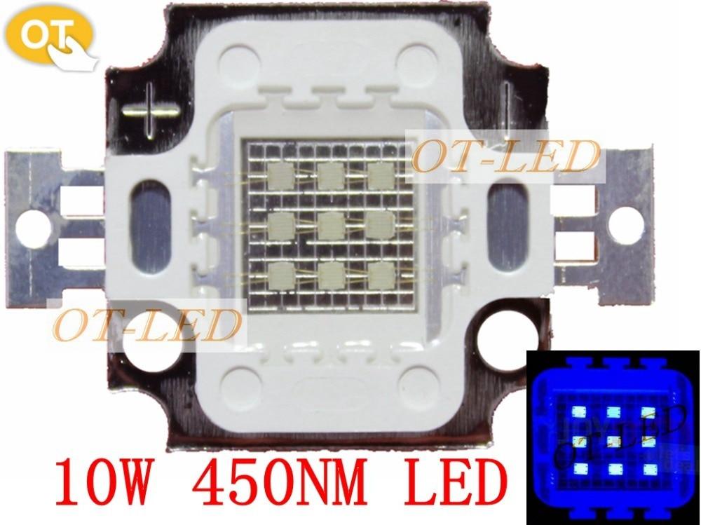 100pcs 10W Royal Blue 445nm Square High Power LED Light chip 1000mA 10-13V free shipping