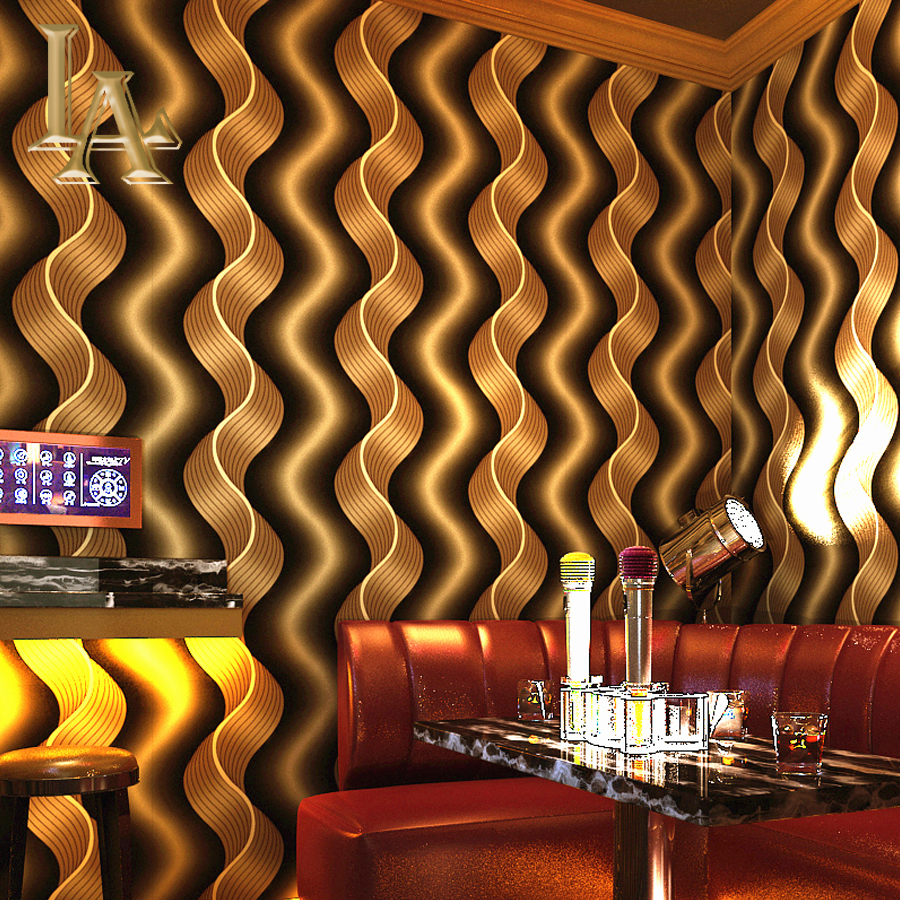 NoEnName_Null Modern Fashion 3D Wave Stripes Wallpaper Walls Decor Gold Foil Wall Paper Rolls For Bedroom Living room KTV