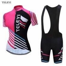TELEYI 2017 Women Short Sleeve Cycling Jerseys Summer Sport Racing Girls Cycling Clothing Clothes Padded MTB Bike Bicycle Jersey