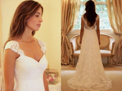 Us 139 0 Hq Simple A Line Bridal Gowns Vintage Style Lace Wedding Dresses With Sweep Train Cap Sleeve Backless Beach Wedding Gowns In Wedding