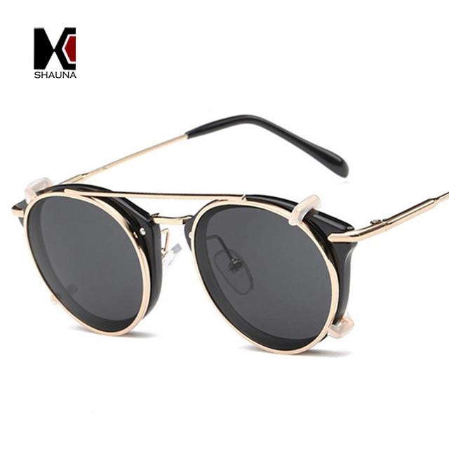 63148898d0 SHAUNA Retro Women Steampunk Sunglasses Brand Designer Flip Separable Lens  Fashion Men Round Punk Glasses UV400