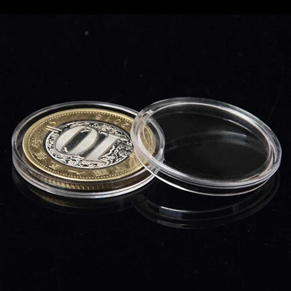 10 unids/lote cápsulas de soporte transparente para monedas cajas de plástico de anillo de almacenamiento redondo de 27mm