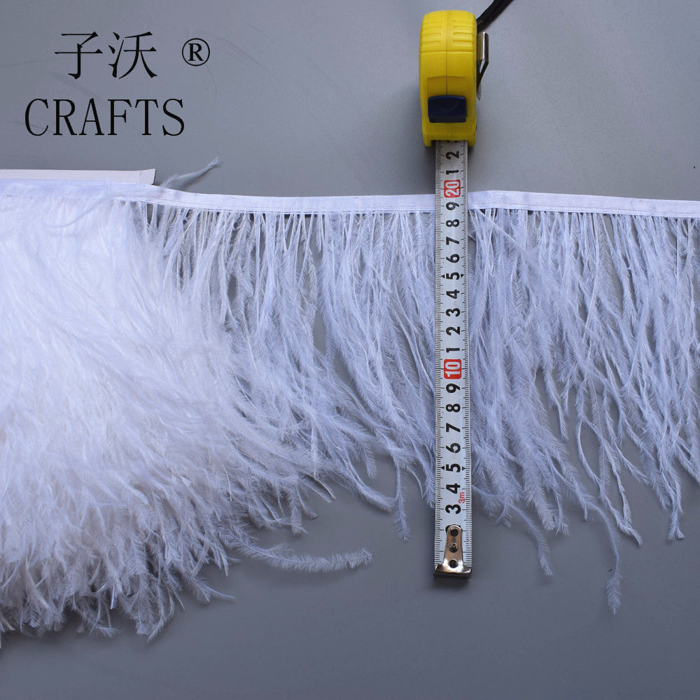 1 meter fluffy high-quality white ostrich hair feather trim, feather length 15-20cm / DIY wedding dress / dance accessories