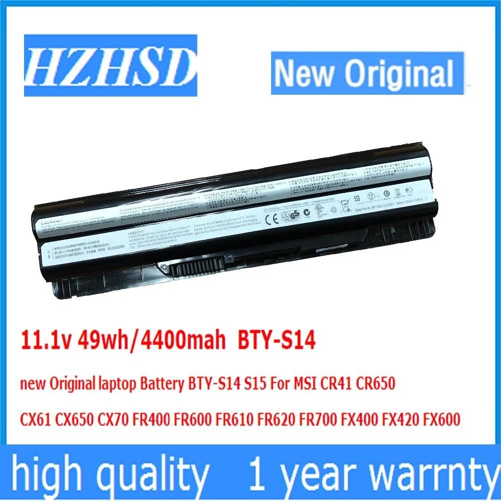 11.1v 49wh/4400mah BTY-S14 new Original laptop Battery BTY-S14 S15 For MSI CR41 CR650 CX61 CX650 CX70 FR400 FR600 FR610 FR62