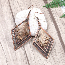 Bohemian Ethnic Ornaments Seven-coloured Retro-antique Exaggeration Classic Rhombic Earrings Handwoven Rice Bead Jewelry
