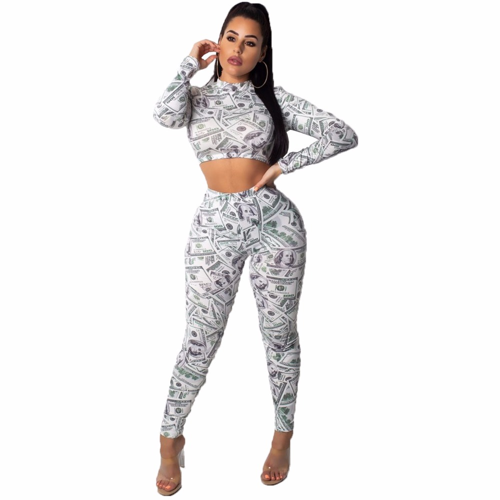Dollar Print 2 Piece Set Sexy Long Sleeve O Neck Crop Top With Pants Bodycon Women Set Casual Suit Female Slim Outfits Tracksuit