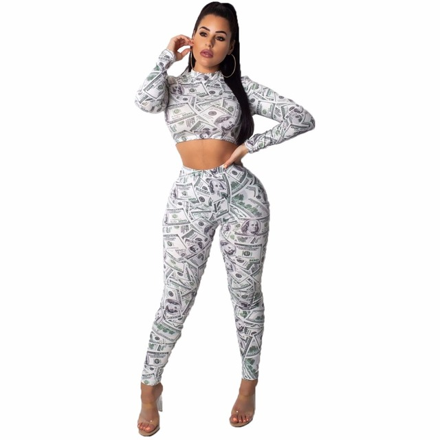 Dollar Print 2 Piece Set Sexy Long Sleeve O Neck  Top With Pants for Women