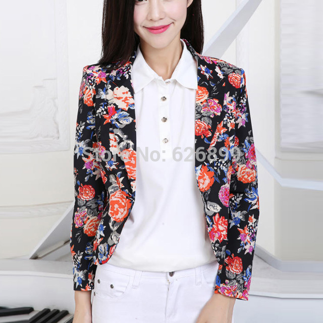 2016 New Fashion Autumn Slim Blazers Floral Print Casual Jacket Long Sleeve Suit Collar Outerwear Short Style Mini Tops CI71
