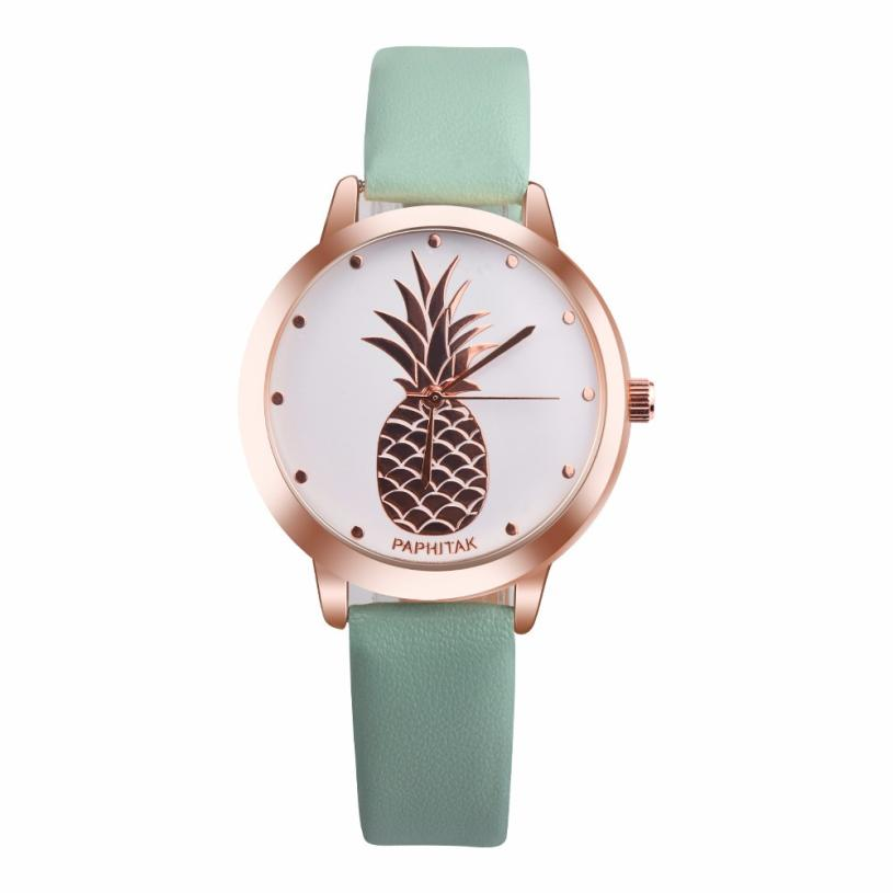 Women Watches PAPHITAK Girls Pineapple Draws Style Faux Leather Band Analog Quartz Watch 2020 Fashion Ladies Casual Bracelet A65