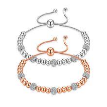 Модные очаровательные браслеты с бусинами для женщин регулируемая