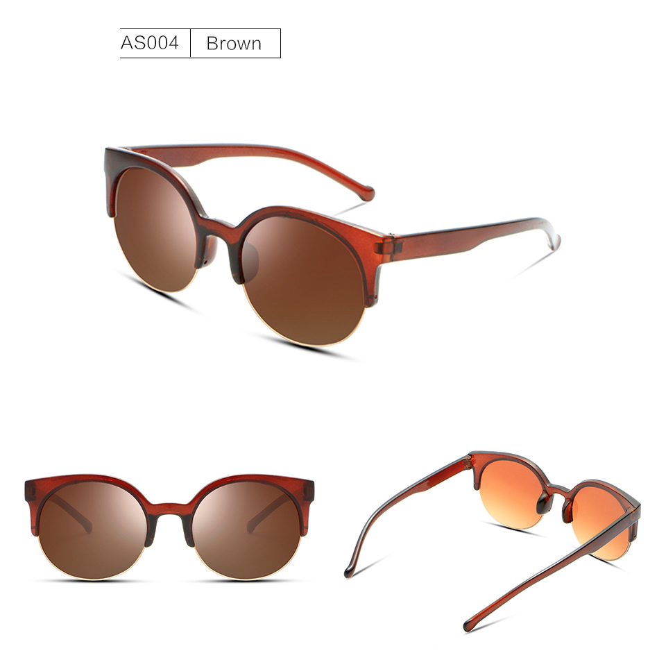 58cdf178429fe MAXMESSY Semi Rimless Olho de Gato Óculos De Sol Das Mulheres Óculos Escuros  UV400 Shades Óculos de Sol Ao Ar Livre Camping