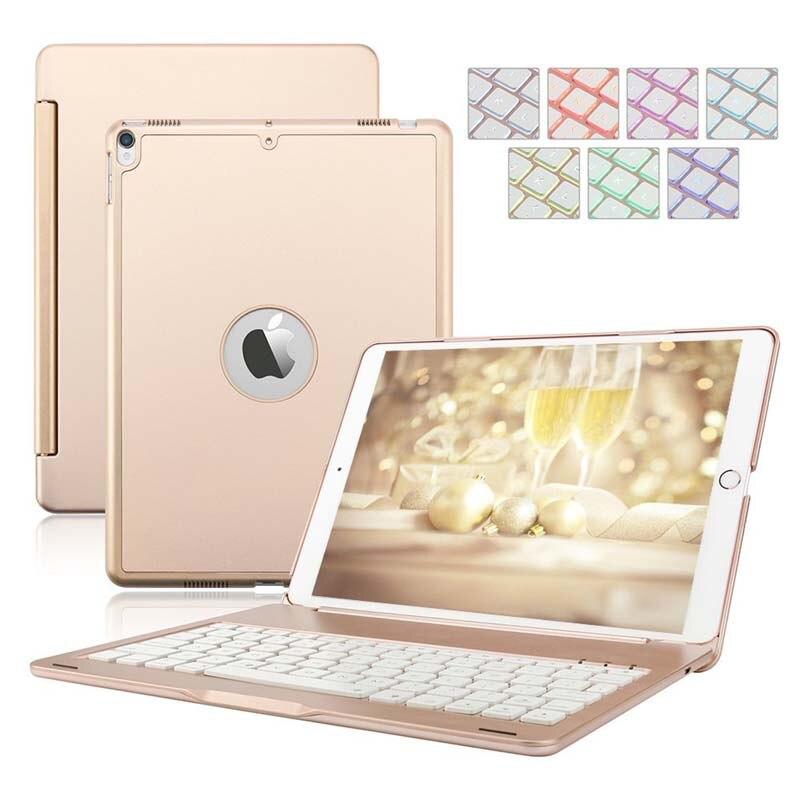 Étui pour clavier bluetooth à coque rigide en aluminium rétroéclairé 7 couleurs pour iPad 9.7 2018/iPad 9.7 2017/iPad Air/iPad Air2