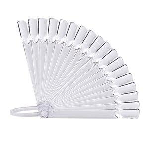 Image 4 - 32 sztuk Nail Art Stick wyświetlacz wyczyść Fan Shaped sztuczny tipsy koła polski żel UV PracticeTransparent składane narzędzie do manicure 9.6