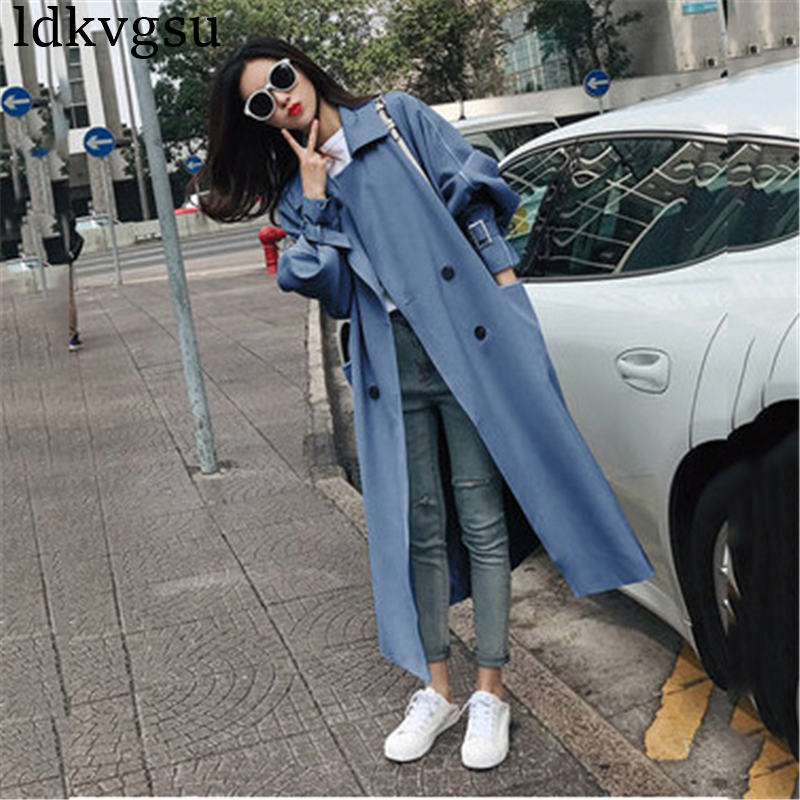 2019 New Fashion Black Windbreaker Coat Female Overcoat Korean Loose Spring Autumn Long   Trench   Coats for Women Outerwear V420