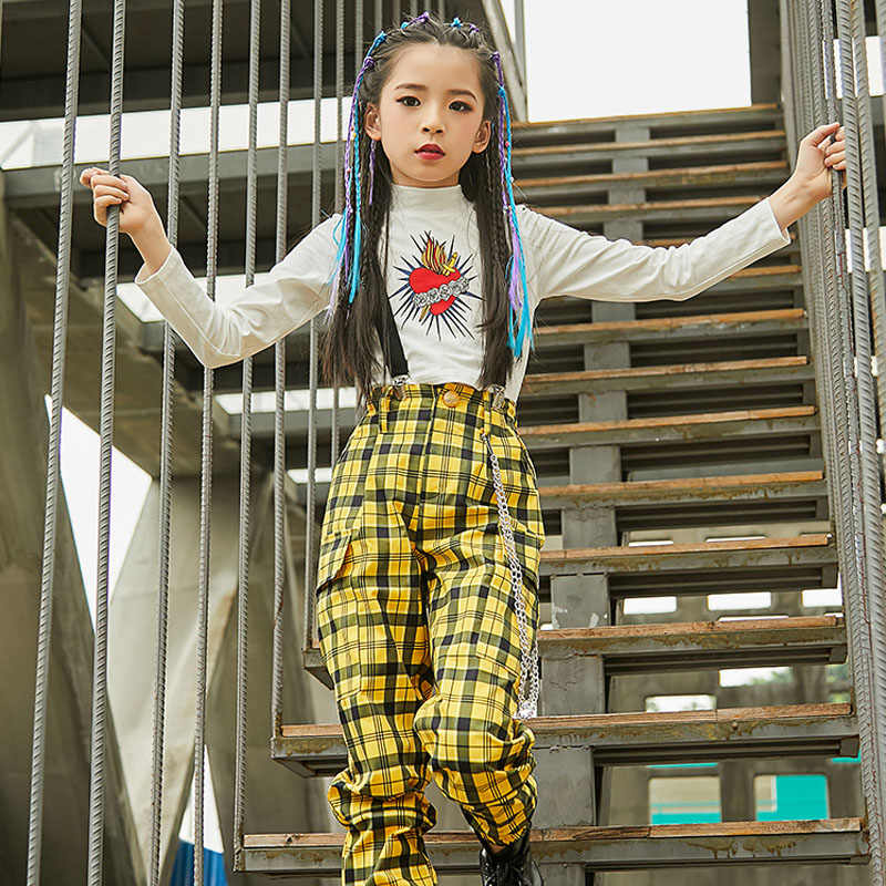Kids Jazz Dance Costumes Girls Hip Hop Dance Fashion Yellow Plaid Pants Children Hip Hop Street Dance Performance Clothes DQL337
