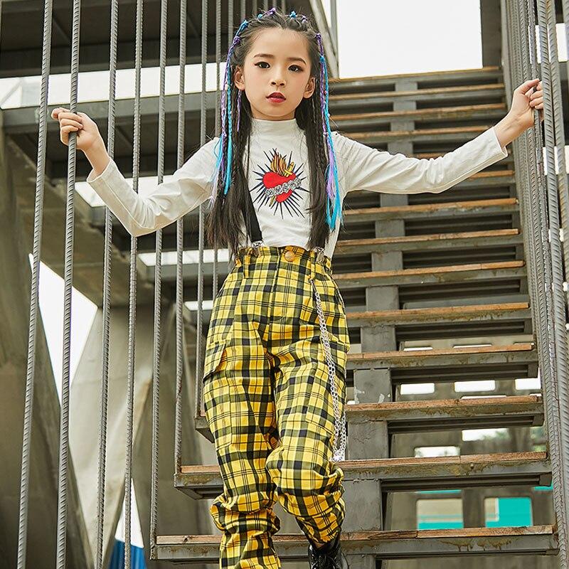 Kids Jazz Dance Costumes Girls Hip Hop Dance Fashion Yellow Plaid Pants Children Hip Hop Street Dance Performance Clothes DQL337