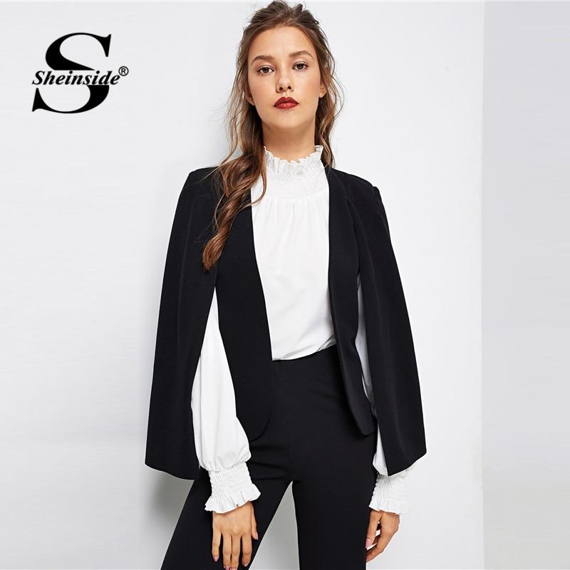 Sheinside negro V cuello capa manga Blazer mujer 2019 primavera minimalista diseño Blazer elegante Oficina señoras sólido Blazers