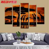 5D Diamond Painting Triptych Diamond Embroidery African Sunset 5 Panels Modular Picture Wall Art Rhinestones Cross Stitch Crafts