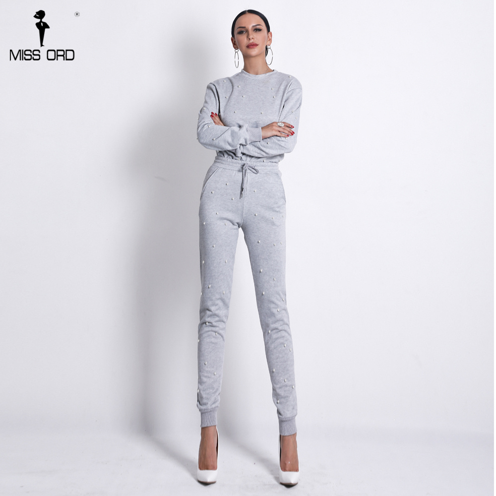 Missord 2019 Women Sexy Sport Clothings O Neck Long Sleeve Playsuit  Beads Two Pcs Set Solid Color Jumpsuit     FT18582