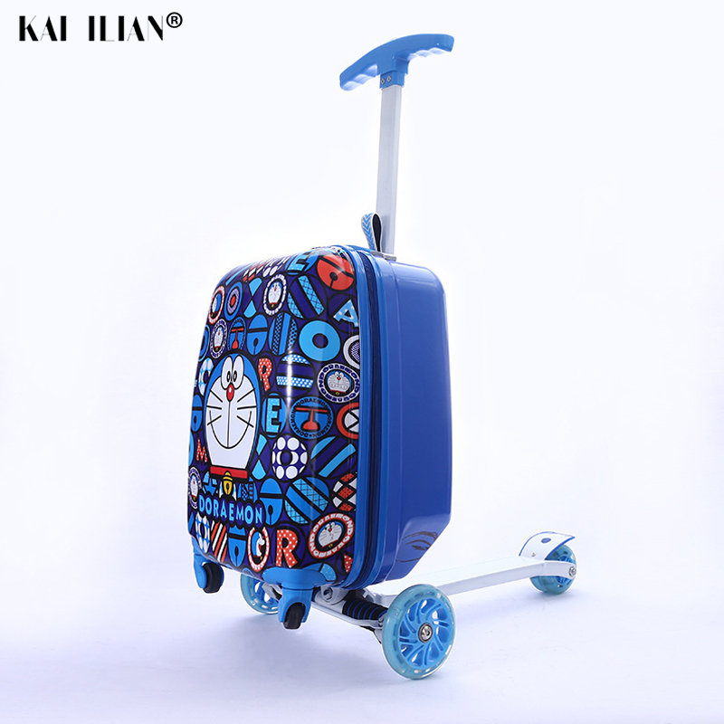 Travel Suitcase On Wheels Child Gift Scooter Suitcase Cabin Skateboard Trolley Lazy Luggage Bag For Kids Cartoon Rolling Luggage