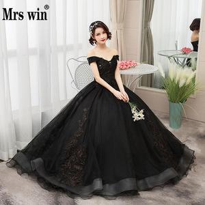 Image 1 - Mrs Win 2020 Vintage Quinceanera Jurken 4 Kleuren Kant Borduurwerk Vestidos De 15 Anos Luxe Party Prom Vestido Debutante F