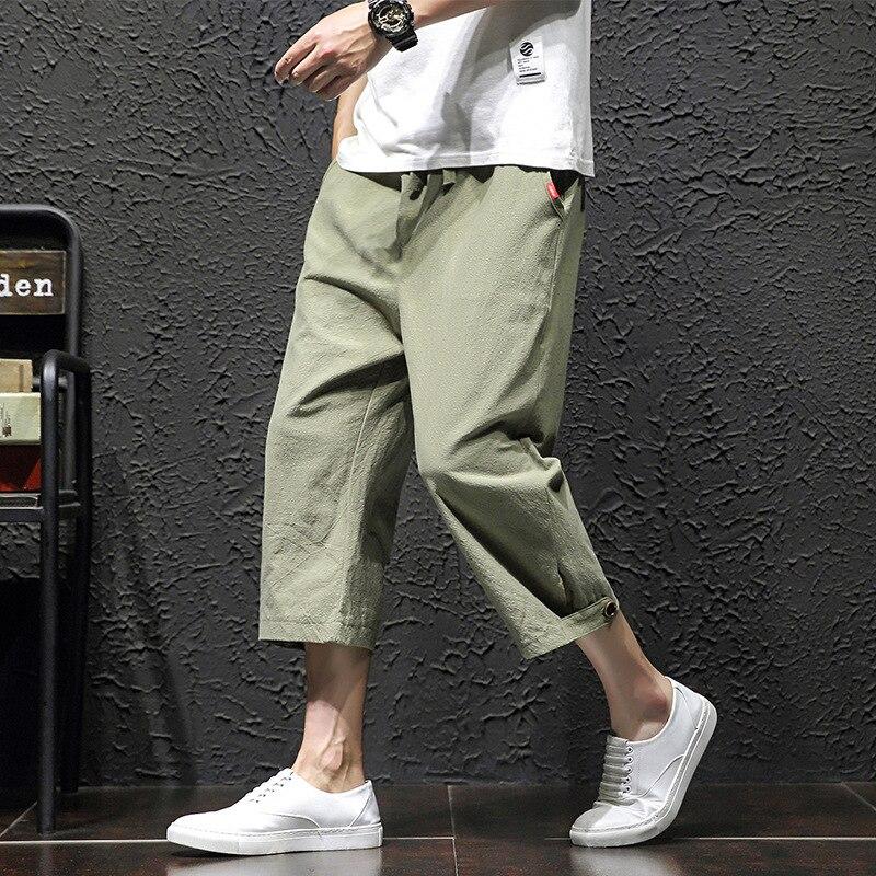 Summer Men Fashion Cotton Linen Basic Pants Japan Style Calf-Length Pants Plus Size Casual Loose Thin Seven Trousers DS50782