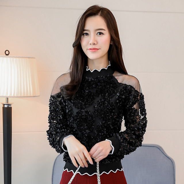 lace patchwork sexy style female shirts fashion women clothing lace blouses  2
