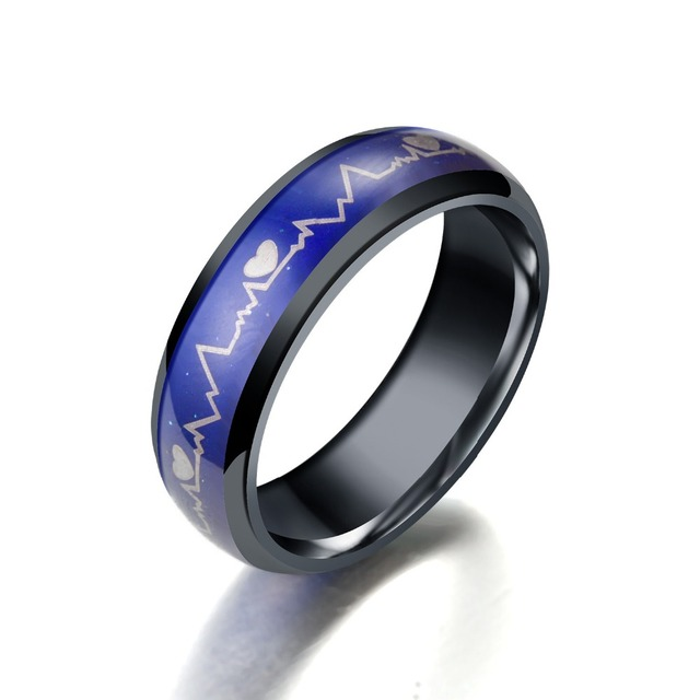Fashion Anium Black Mood Rings Temperature Emotion Feeling Engagement Women Men 2018 Promise For