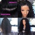 4*4 Шелковый Топ Толстая Длинные Вьющиеся Glueless Человеческих Волос Полный Парик Шнурка Черные Женщины Кружева Перед Парик Кудрявый вьющиеся Волосы