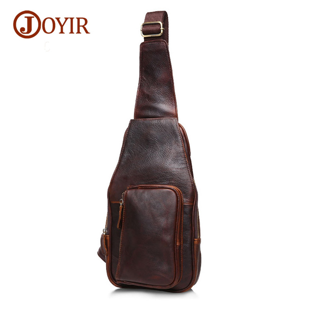 Vintage chest bag for men crossbody bags for men genuine leather Travel Rucksack Single Shoulder Strap Back Pack bolsas