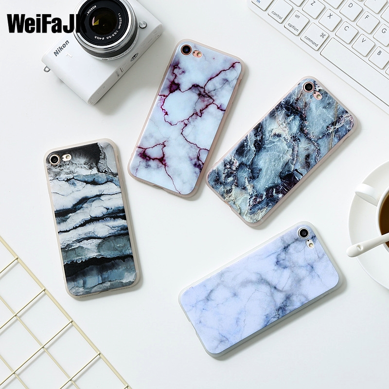 WeiFaJK Granite Scrub Soft Case for iPhone 5s 5 6 6s Plus Marble Stone Painted TPU Silicon Phone Case for iPhone 7 8 Plus Cover