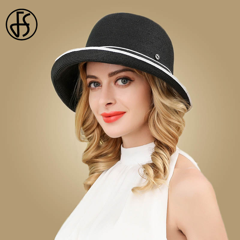 9997f14a FS Women Summer Hat 2019 Wide Brim Floppy Beach Cap Visor Lady Casual Black  Blue Foldable Straw Cap Girls Sun Hats Chapeau Femme