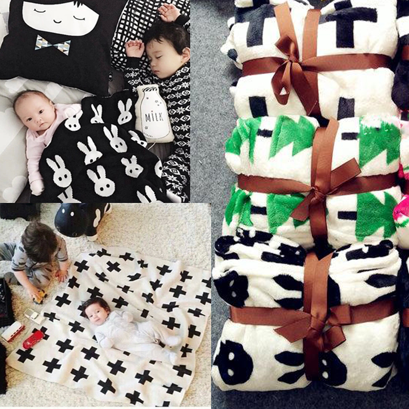 1Pcs Flannel Newborn Baby Fleece Blankets For Boy Girl 6 Styles Baby Winter Throws Sleeping Cross Blanket Autumm Bedding Set X