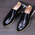British style men leisure business wedding dress soft genuine leather brogue shoes slip-on shoe cutout print bullock loafer male